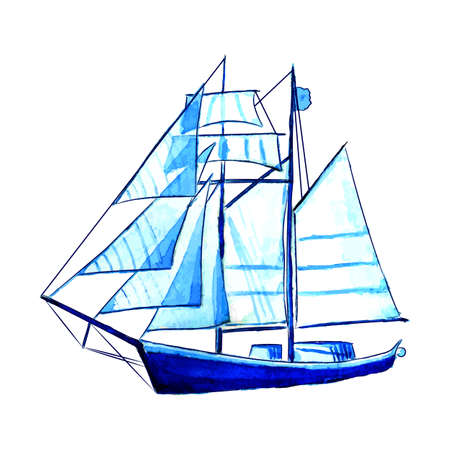 Big blue watercolor sail ship vector illustration.
