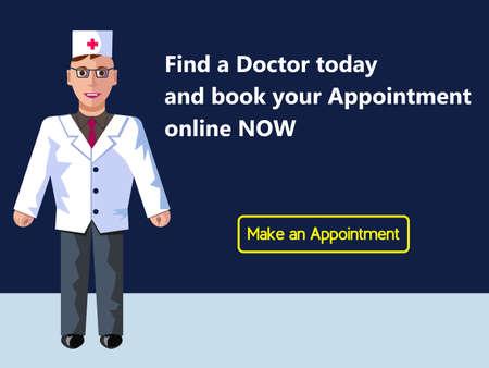 Online medicine. Doctors appointment. Web banner design consept. Vector flat illustration.