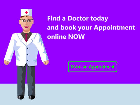 Online medicine. Doctor's appointment. Web banner design consept. Vector flat illustration with purple background. This illustration can be used for any medical design goals.