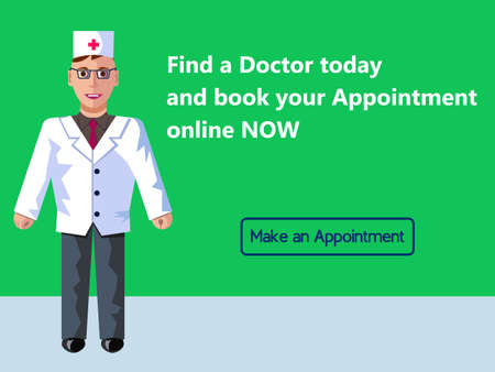 Online medicine. Doctor s appointment. Web banner design consept. Vector flat illustration with green background.