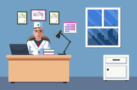 The illustration of a doctor who is sitting in his office and working. The doctors office. The interior design. The doctors appointment.