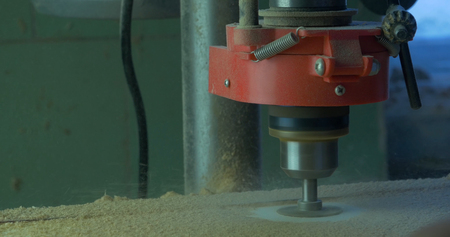 construction project: In a furniture factory, a man drills holes for furniture hinges. Drill Forstner. Forstner bit drilling into soft wood, closeup. Stock Photo