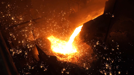 crucible: Liquid metal from blast furnace. Liquid iron from ladle in the steelworks.