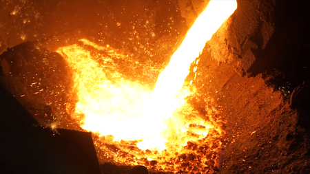 Liquid metal from blast furnace. Liquid iron from ladle in the steelworks.