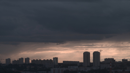 Storm over the city of Ekaterinburg. Cloudy weather in the city.