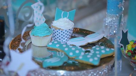 Cupcakes. Cupcakes with white cream. Amazing chocolate cakes and cupcakes. Celebration
