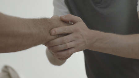 real estate sold: Handshake. Man thanked the worker for the work done