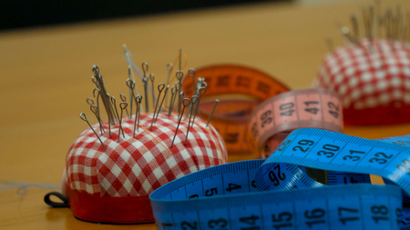 Sewing Accessories and Tape Measure. Sewing and knitting accessories. Set of different sewing accessories Stock Photo