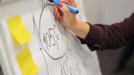 L'homme d'affaires met ses idées sur un tableau blanc lors d'une présentation dans la salle de conférence. Mise au point dans les mains avec l'écriture du marqueur en flipchart. Gros plan de la main avec marqueur et tableau blanc