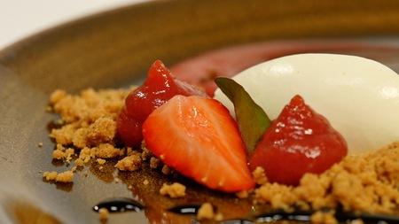 Strawberry dessert, cream. Marshmallows dessert with strawberrys close up photo