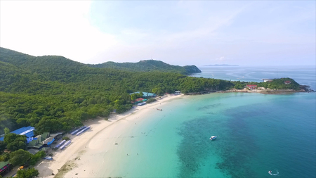Aerial View of the rocky islands in Andaman sea, Thailand. Poda island in Krabi Thailand. Long exposure of Makua beach or more commonly known as Tunnels Beach on the Island of Kauai. Idyllic tropical Hawaiian paradise with its tall lush mountains, turquoi Stock Photo