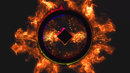rhythm rhythmic: Disco dance music concept with seamless loop black background and fire effects in 4k. Soft box color equalizer background. Simple Circle Equalizer Audio Spectrum Color