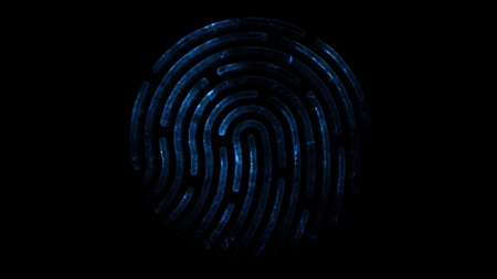 Amination of clorful fingerprint. Animation of appearance and disappearance of fingerprint with sparks on black background. Glowing Colorful Tracing Fingerprint Loop with Matte 4K
