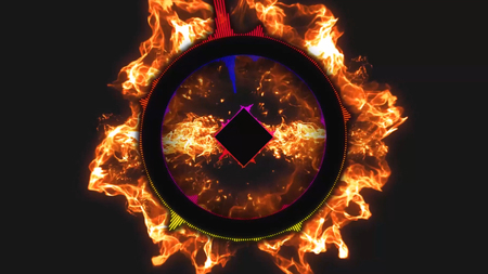 rhythm rhythmic: Abstract motion background, shining lights, sound waves geometric shape energy and sparkling element particles in disco dance music concept with seamless loop black background and fire effects