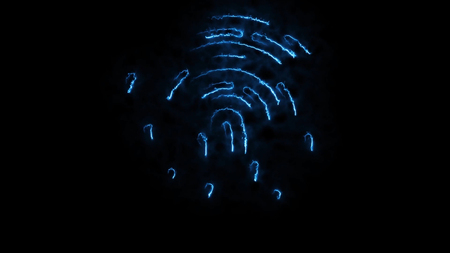 Amination of clorful fingerprint. Animation of appearance and disappearance of fingerprint with sparks on black background. Glowing Colorful Tracing Fingerprint Loop with Matte