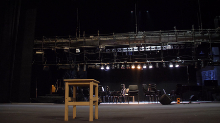 Stage equipment for a concert. Empty stage before concert. Installation and preparing scene for concert. Preparation stage of the theatre