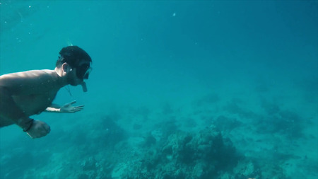 Man with mask snorkeling in clear water. Underwater background of a man snorkeling and doing free diving. Watersport activity in summer vacations. Tropical destination holidays concept