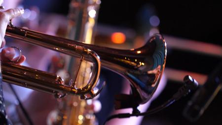 Pijpen in de handen van muzikanten. Muzikanten die blaasinstrumenten spelen