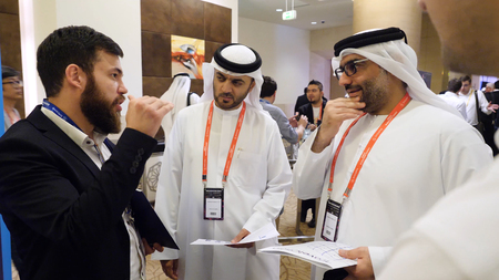United Arab Emirates, Dubai - October 2017: Group of business people meeting. International Business. Businessmen Arabs to communicate in conference on the blockchain