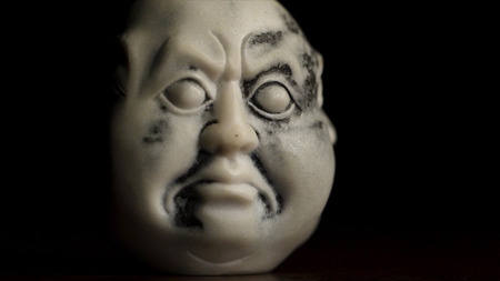 Head Statue With An Emotion Anger Museum Quality Statuette Against Black Background