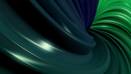 Animation of multi-colored swirling lines. 3D minimal abstract shapes continuously looping in a seamless way. Centered animation with black background. Subtle reflections and hypnotic motion. Hypnotic spiral illusion seamless looping