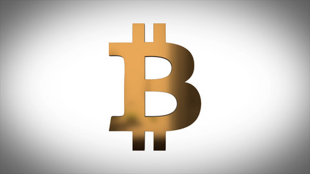 Animation of abstract data with bitcoin symbol on white background. Animation of seamless loop. Animation Golden symbol of bitcoin