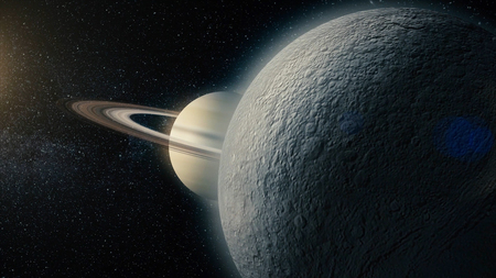 Rhea, mid-sized moon of Saturn on space bacground mid-sized moon of Saturn. 3d rendering. Rhea moon of Saturn.