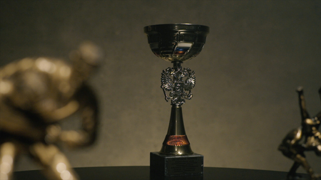 First place championship trophy or silver cup concept for winning and success. Cup for a victory in the judo championship. Cup for sporting achievement