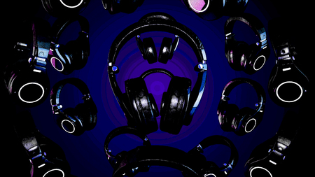 3D illustration rotating Headphones. Gray Headphones isolated on color background. Falling headphones