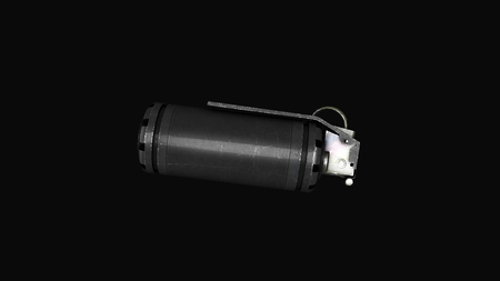 Grenade on a gray background levitation of standard timed fuze hand grenade. Tear-gas hand grenade rotation on grey background. Stock Photo
