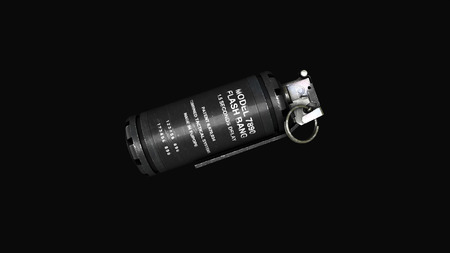 Grenade on a gray background levitation of standard timed fuze hand grenade. Tear-gas hand grenade rotation on grey background. Imagens