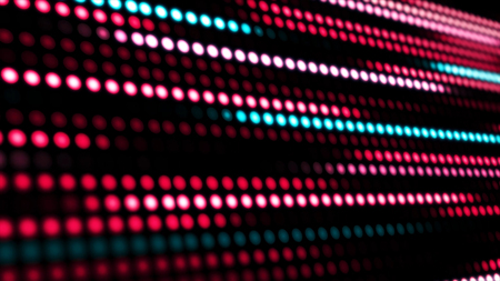 Animation of moving colorful dots in line. Flashing lights on a background