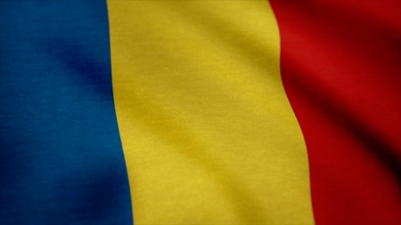 Realistic flag of Romania waving in the wind. Realistic flag of Romania waving in the wind. Seamless loop.