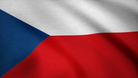 Flag of the Czech Republic. Realistic flag of Czech Republic Algeria waving in the wind. Seamless loop.