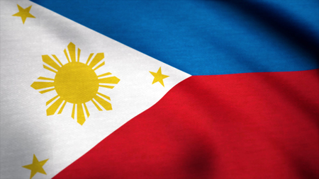 Flag of Philippines, fluttering in the wind. Flag of the Philippines with fabric texture, seamless loop
