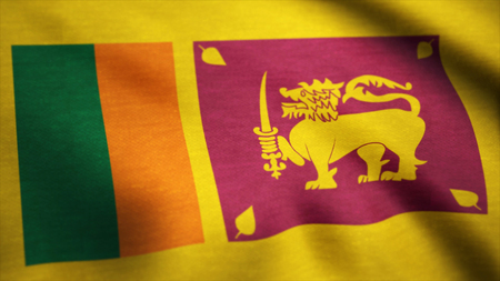 Animated flag of sri lanka - seamless loop. Sri Lanka Flag Close Up Realistic Animation Seamless Loop