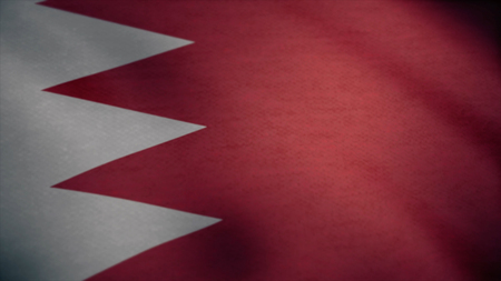 Flag of Bahrain with fabric texture, seamless loop. Waving Flag of Bahrain wave