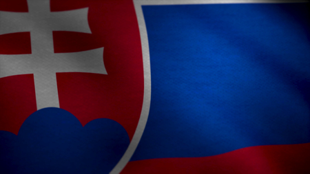 Realistic beautiful Slovakia flag. Seamless Loopable Flag of Slovakia. Slovakia Flag Waving