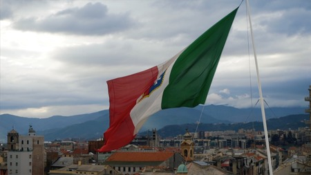 Flag of Italy, waving in the wind, on the sky. Stock. Beautiful flag blowing in wind: Italy.