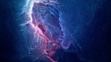 Space flight through nebula. Space travel. Space animation background with purple nebula, many stars for different projects Stock Photo