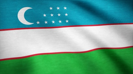 Realistic beautiful Uzbekistan flag. Waving national flag of Uzbekistan