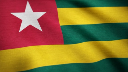 Flag of Togo waving animation. Togo flag.