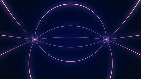 Abstract particle fail in the dark. Random small particles form horizontal abstract lines. Infinite space background. Matrix of glowing stars with illusion of depth, perspective. Small circles appear and form evolving lines and patters moving towards center Imagens