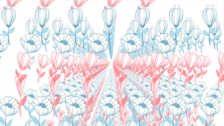 Background of the painted flowers in the animation. Beautiful floral background. Stock Photo