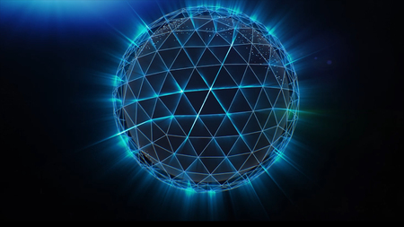 Plexus Sphere explodes into particles and polygons connecting lines in network. Exchange of goods and services worldwide. Abstract geometric composition from chaotic slow moving dots and lines are pla