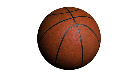Seamless Looping Animation of Basketball ball on white background. Sport and Recreation Concept. Animation of a basketball ball.