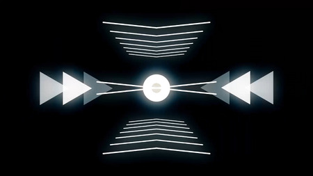Futuristic technology video animation with moving object and lights, loop. Futuristic video animation with glowing particle object