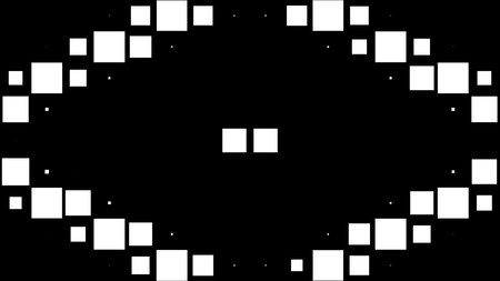 Modern black and white background of wild flickering squares. High Definition CGI motion backgrounds ideal for editing, led backdrops or broadcasting featuring black and white squares moving in various formations