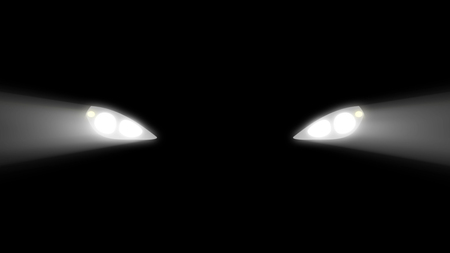 Schattenbild des Autos mit Scheinwerfern auf schwarzem Hintergrund. Autoscheinwerfer Strahlenstrahl isoliert. Leichtes Auto.