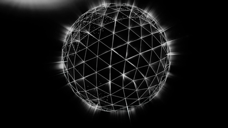 Polygonal black sphere with white edges and light background. Abstract Black plexus Geometric, Polygonal or Lowpoly Style Sphere made From a lines and dots or nodes. Stock Photo
